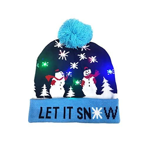 Yajun Navidad LED Gorro de Punto Cálido Sombreros para Padres e Hijos Adornos Navideños Beanie para Adultos para Senderismo, Ciclismo, Acampada 2 Piezas,Snowman