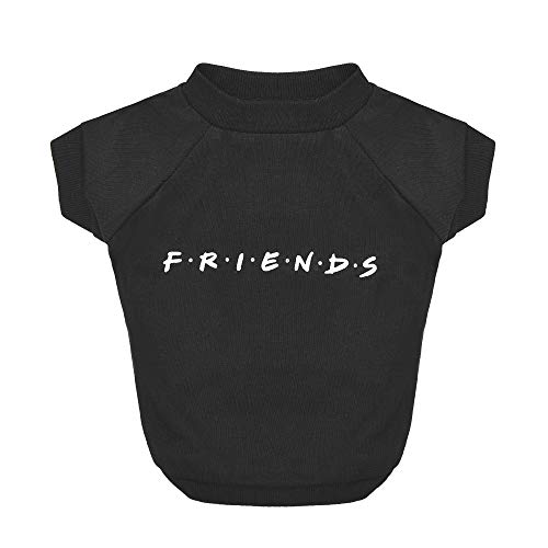 Warner Brothers Friends for Pets Iconic Logo Dog T Shirt in Black | Soft Dog Shirt, Machine Washable Pull-Over Dog Tshirt, Light Weight and Semi-Stretch | Size Small (S) for All Small to Medium Dogs