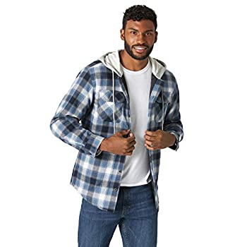 Wrangler Authentics Men s Long Sleeve Quilted Lined Flannel Shirt Jacket with Hood Vintage Night Large