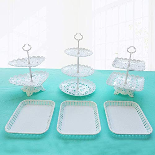 Dessert Stand Set of 6 Pieces Includes 3 Tier 2...