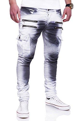 MT Styles Zipper Biker Jeans Slim Fit Camouflage Hose RJ-3196-3 [Weiß, W30/L32]