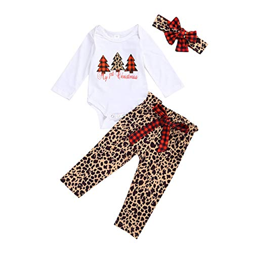 Newborn Baby Girl Christmas Outfits My First Christmas Pajamas Long Sleeve Romper+Leopard Plaid Pants+Headband 3PCS Fall Winter Clothes Set (My 1st Christmas B, 9-12 Months)