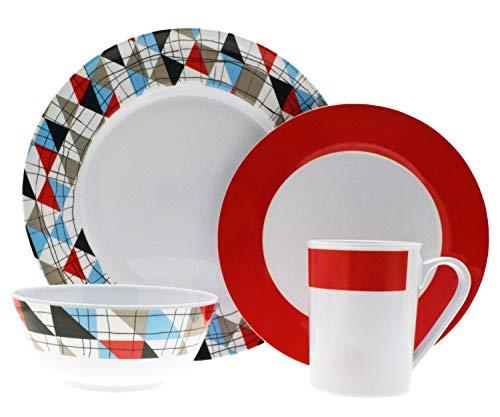Moritz Tiffany Design Tafelgeschirr aus Melamin Campinggeschirr Geschirr 16-teilig für 4 Personen Picknickgeschirr