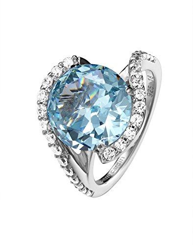 Pierre Cardin Damen-Ring Saint Ambroise 925 Silber Zirkonia blau Brillantschliff Gr. 50 (15.9) - PCRG90427D160