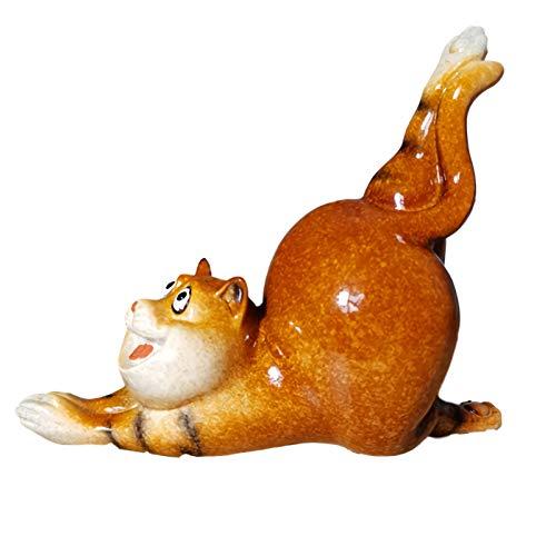 Little Boy Gato De La Suerte Resina, Estatua De Gato Decoración De Jardín, Figura Decorativa De Gato De Yoga para Oficina, Hogar, Salón, Dormitorio O como Decoración De Yoga,Stretch