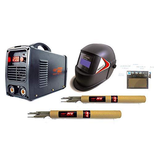 HERPRO Soldador Inverter Profesional IGBT de 200 amperios con Careta de Soldar Automática, Ligera y...