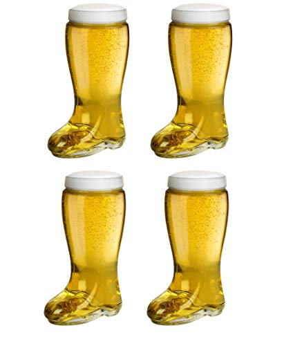 Das Boot Style One Liter Beer Glass (Set of Four) - Oktoberfest Themed Large Oversize German Stein that Holds Over 2 Bottles - Perfect For Parties, Drinking Games, etc