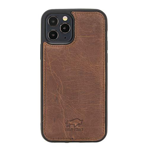 Solo Pelle Lederhülle für das iPhone 12/12 Pro in 6.1 Zoll Stanford Hülle Leder Hülle Ledertasche Backcover aus echtem Leder (Vintage Braun)