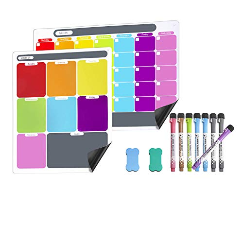 Dry Erase Calendar Kit- Magnetic Calendar for Refrigerator Monthly/Weekly Fridge Calendar Whiteboard with Extra-Thick Magnet Included 8 Fine Point Marker & 2 Eraser