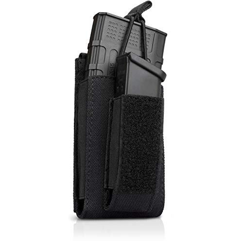 LIVANS Tactical Open Top Single Mag Pouch, Elastic Rifle and Pistol Magazine Pouches Kangaroo Mag Carrier with Front Loop Surface for for M4/16 AR AK G36 9mm .40 S&W .45 ACP