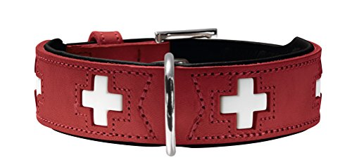 HUNTER SWISS Hundehalsband, Leder, hochwertig, schweizer Kreuz, 60 (M-L), rot/schwarz