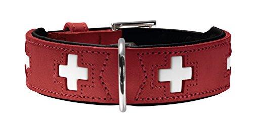 HUNTER SWISS Hundehalsband, Leder, hochwertig, schweizer Kreuz, Rot (rot/schwarz), 42