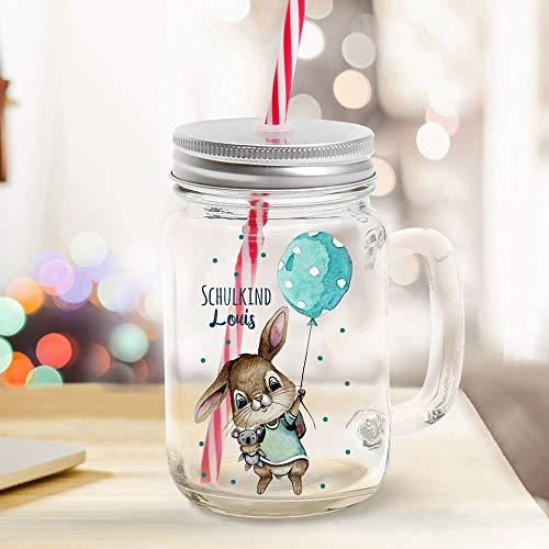 ilka parey wandtattoo-welt Mason Jar Trinkglas Trinkbecher Hase Hasenjunge mit Luftballon & Schulkind Name Wunschname Einschulung Geschenk Bedruckt Deckel Trinkhalm sg14