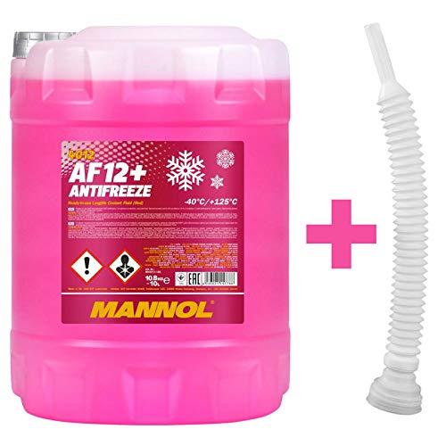 MANNOL 10 Liter + Schlauch, AF12+ -40 KÜHLERFROSTSCHUTZ FERTIGMISCHUNG ROT