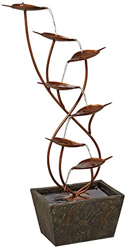John Timberland Ashton Curved Leaves Modern Outdoor Floor Water Fountain 41' High Cascading for Yard Garden Patio Deck Home