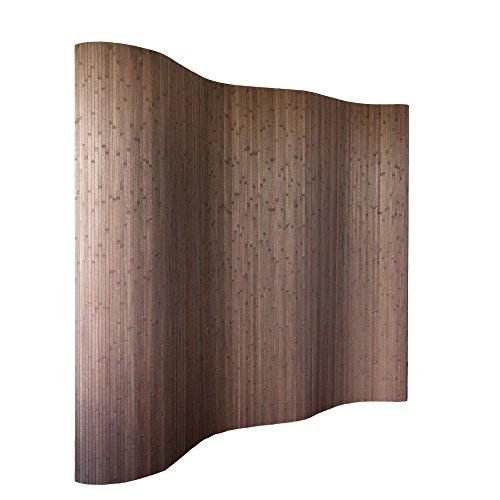 Homestyle4u 301, Raumteiler Bambus, Wellenform Rollbar, Dunkelbraun Matt, BxH 250x200 cm