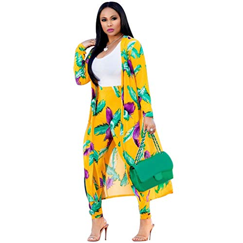 Women 2 Piece Outfits - Floral Print Long Sleeve Open Front Cardigan Cover Up Bodycon High Waisted Long Pants Set Yellow