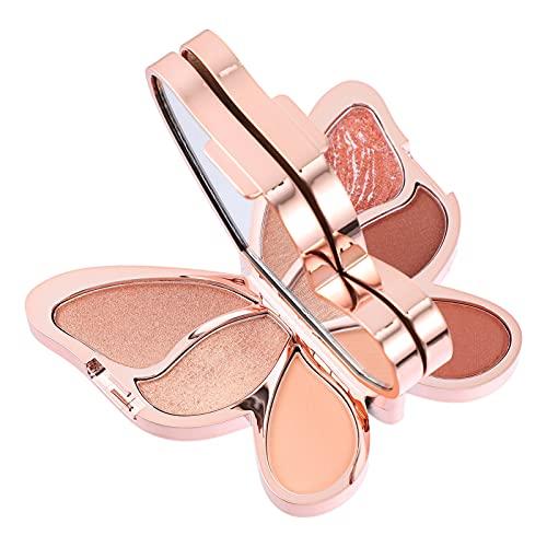 Beaupretty Illuminator accentueert make-up, poeder, vlindervormig, pailletten, oogschaduw, cosmetische foundation, gezicht, ogen, neus, contouring, palet, chocolade