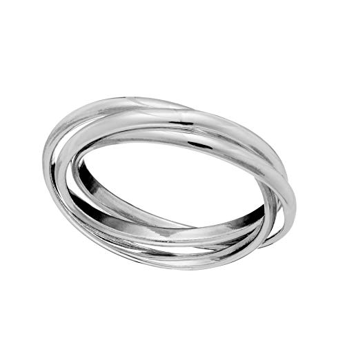 Silverly Women's .925 Sterling Silver Three Piece Triple Band Intertwined Russian Ring, L 1/2