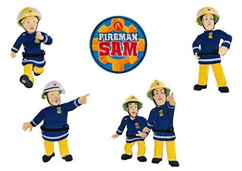 Mono-Quick 302 Feuerwehrmann Sam, 5er Set Bügelbilder,Kinder,Feuerwehr,Patches,Aufbügler,Aufnäher,Bilder zum Aufbügeln, Polyester, Mehrfarbig, 8.5cm, 5