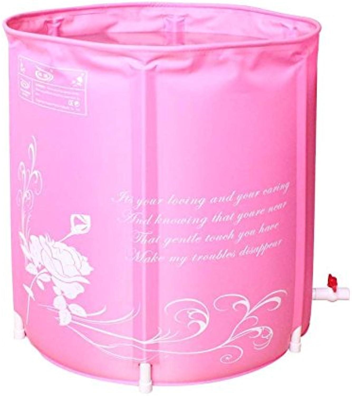 Bathtub Bathtub Inflatable Environmental Predection Fold Bath Barrel Adult Bathtub Bath Bucket Pink bluee Send Sponge Pad 70  70CM (color   PINK)