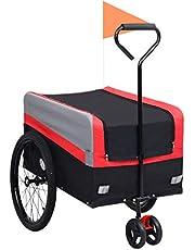 vidaXL Remolque de Bicicleta Mascotas Carrito 2 en 1 Rojo Negro Gatos Perros