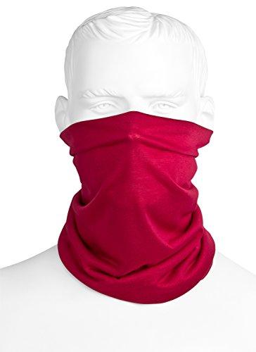 Multifunktionstuch Rot | Bandana Schlauchtuch/Halstuch | Sturmmaske | Maske Für Motorrad Fahrrad Paintball Ski Winter | Einfarbig Für Damen & Herren