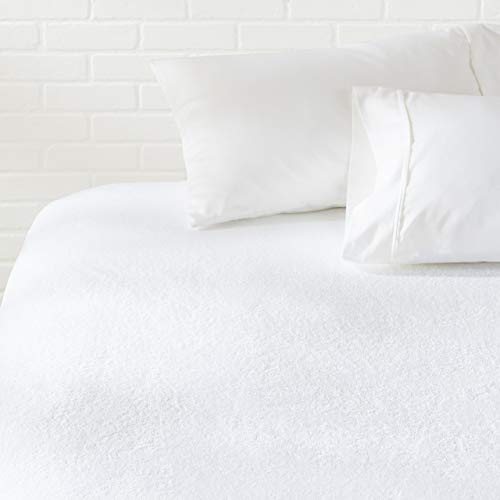 AmazonBasics Hypoallergenic Waterproof Fitted Mattress Protector Cover - Queen
