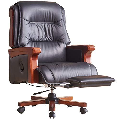 YUYAXAF Stabil Home-Office Chefsessel Kunstleder Drehstuhl bequem gepolstert, hohe Rückenlehne Design Klassiker, Schreibtischstuhl ergonomisch, Büro Sessel, Drehstuhl Chefsessel Gemütlich, Black