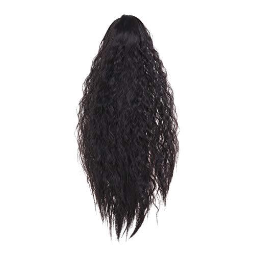 Lurrose Perruque Postiches Longue Bouclée Queue de Cheval Synthétique Extensions de Cheveux avec Griffepour Femmes Cosplay(Noir)