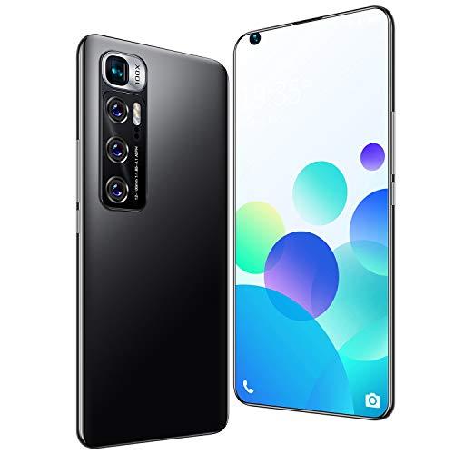 FJYDM Teléfonos Celulares Desbloqueados Pantalla Completa De 7.2 Pulgadas, Teléfono Inteligente con Batería De 5600Mah con Cámara De 21MP + 42MP, Teléfonos Dual SIM 5G,Negro