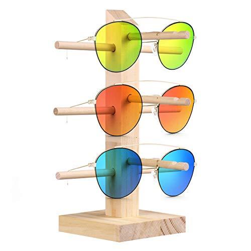 PRETYZOOM Soporte de Exhibición para Gafas de Sol Espesar Madera de Pino Estante para Gafas de Sol Organizador de Anteojos Escaparate de Gafas (3 Capas)
