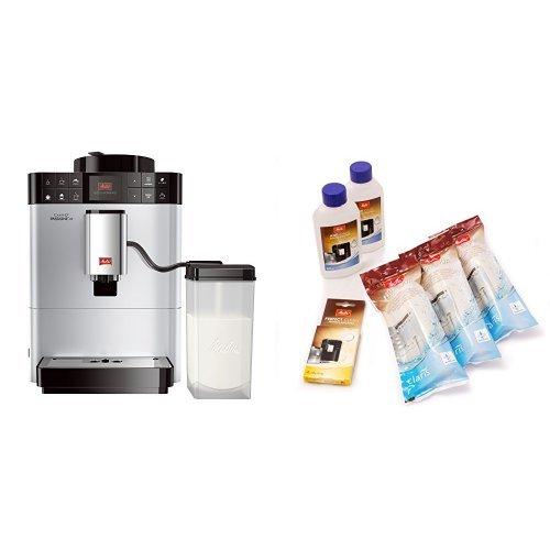 Melitta F53/1-101 Platzsparender Kaffeevollautomat Caffeo Passione One Touch, Milchbehälter, Silber + Melitta 6er Pflegeset