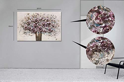 Bubola e naibo Dipinto Vaso Fiori in Rilievo Realizzato a Mano 60x90