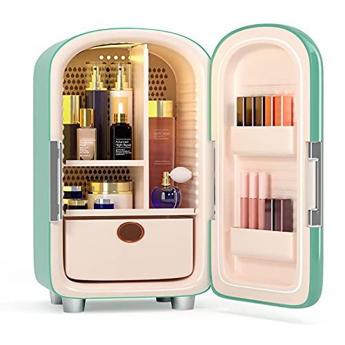 TTLIFE maquillaje nevera mini nevera 12L portátil mini refrigerador maquillaje,cuidado de la piel refrigerador cosméticos refrigerador compacto calentador para dormitorio,oficina,coche (Verde)