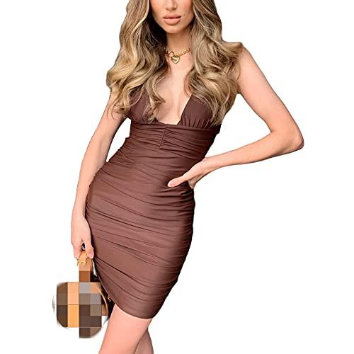 Saoidnier Vestido sexy con cuello en V profundo sin espalda para mujer, sin mangas, fruncido, club, bodycon mini vestidos de cóctel, café, L