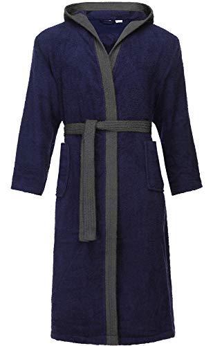 Ladeheid Albornoz de Baño 100% Algodón Ropa de Casa Hombre LA40-190 (Azul Oscuro-29/Gris Oscuro-12, XL)