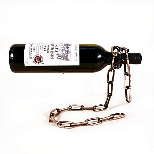 Magic Chain Weinflaschenständer, Weinflaschenhalter Mit Hängender Kette, Dekoratives Weinregal Mit Einzelflaschenauslage, Stilvoller Weinflaschen-Organizer Aus Eisen, Ideal Für Weinliebhaber, Bronze