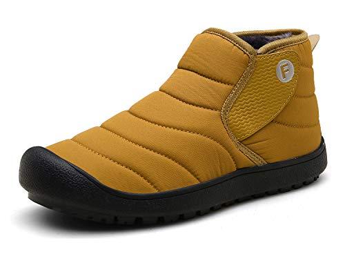 Gaatpot Unisex-Adulto Botas de Nieve Cálidas y Cómodas Zapatos de Invierno Fur Forro Aire Libre Senderismo Zapatillas de Deporte Amarillo 35EU/36CN