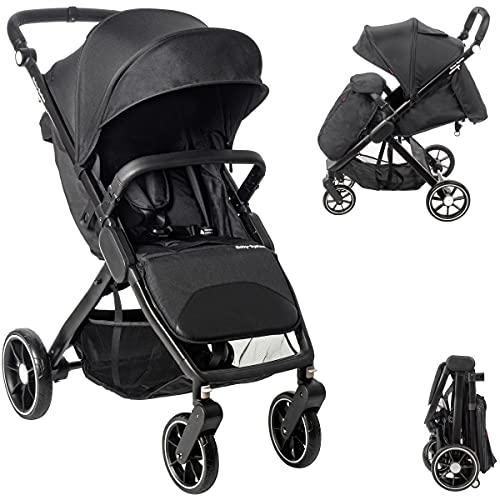 Cochecito Moby System, ruedas giratorias de 360 grados, Nadia, cochecito de bebé con maleta, para niños de hasta 15 kg, cesta de la compra grande, color negro