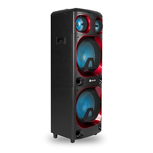 NGS Wild Ska 2 Altavoz DJ DE 800W con Doble SUBWOOFER 12' Compatible con TECNOLOGÍA Bluetooth Y TWS- USB/Micro SD/AUX IN-Luces LED-Asas Y Ruedas