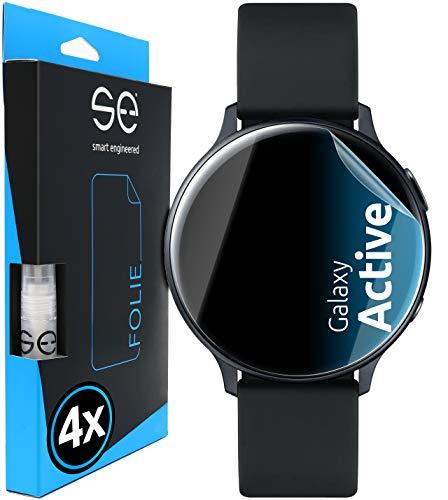 [4 Stück] 3D Schutzfolien kompatibel mit Samsung Galaxy Watch Active, durchsichtige HD Bildschirmschutz-Folie, Schutz vor Dreck & Kratzern, kein Schutzglas - smart Engineered