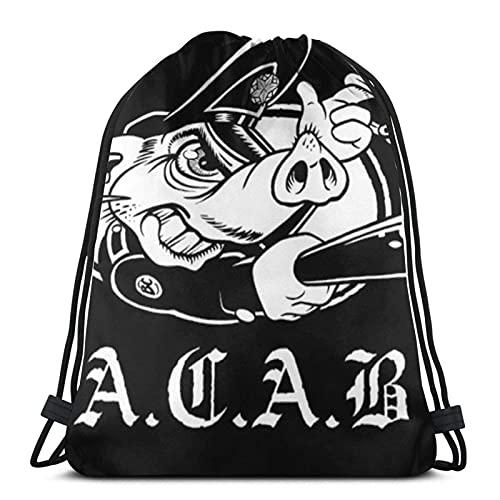 A.C.A.B - Mochila con cordón unisex con cordón, bolsa de deporte, bolsa grande con cordón, mochila de gimnasio a granel
