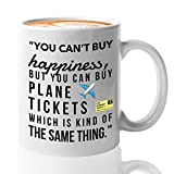 Traveler Quotes Coffee Mug - You Can't Buy Happiness But You Can Buy Plane Ticket - Travel Lovers Gifts - Unique Gift Idea for Outdoor Mount