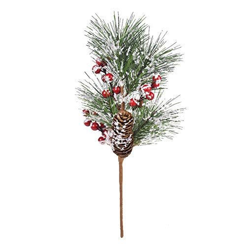 GWOKWAI 6Pcs Artificial Pine Picks, Christmas Snowy Red Berry Stems Faux Pine Cones Branch for Xmas Crafts Flower Arrangements Wreaths Ornaments Garland Decor