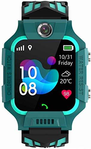Reloj inteligente para niños de 1,5 pulgadas, reconocimiento facial, desbloqueo rápido, IPX6, modo multideportivo, impermeable, foto HD + tarjeta de vídeo, se puede insertar-verde
