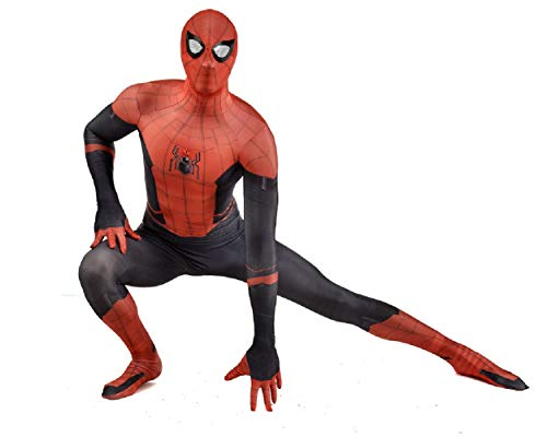 Yunze Spiderman Far from Home Costume Lycra Spandex Zentai Halloween Cosplay Costumes Adult/Kids (Kids-XL) Red