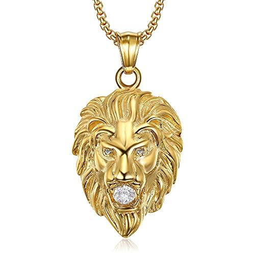 Bobijoo Jewelry – Colgante de cabeza de león para hombre y mujer falsos diamantes de imitación para ojos boca de acero inoxidable chapado en oro