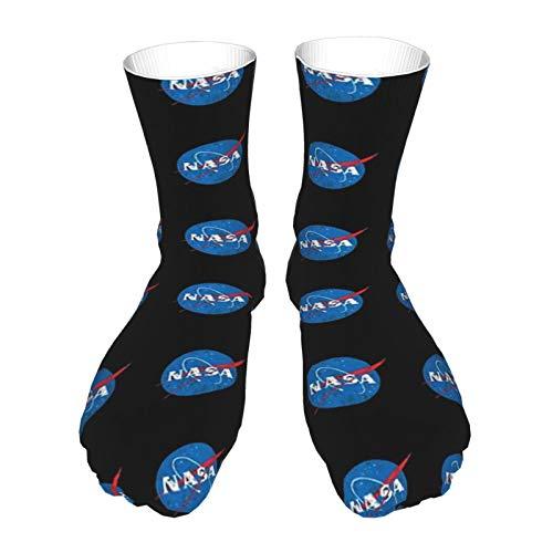 Socken für Erwachsene, Baumwolle, lange Strümpfe, schwarzer Absatz, dicke Socken, warme Socken, Unisex, 586 cm, NASA-Logo