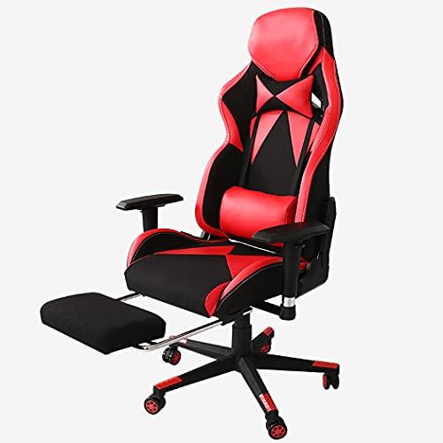 huasa Gaming Stuhl/Büro-/ Schreibtischstuhl,Atmungsaktivem Weichen Stoff,Gepolsterten Nackenkissen,Lendenstütze aus Memory-Schaumstoff drehbar ergonomisch,90-172°Neigungswinkel,Red